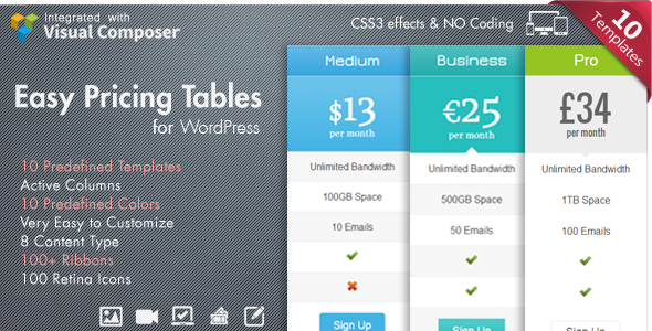 pricing table vc addon