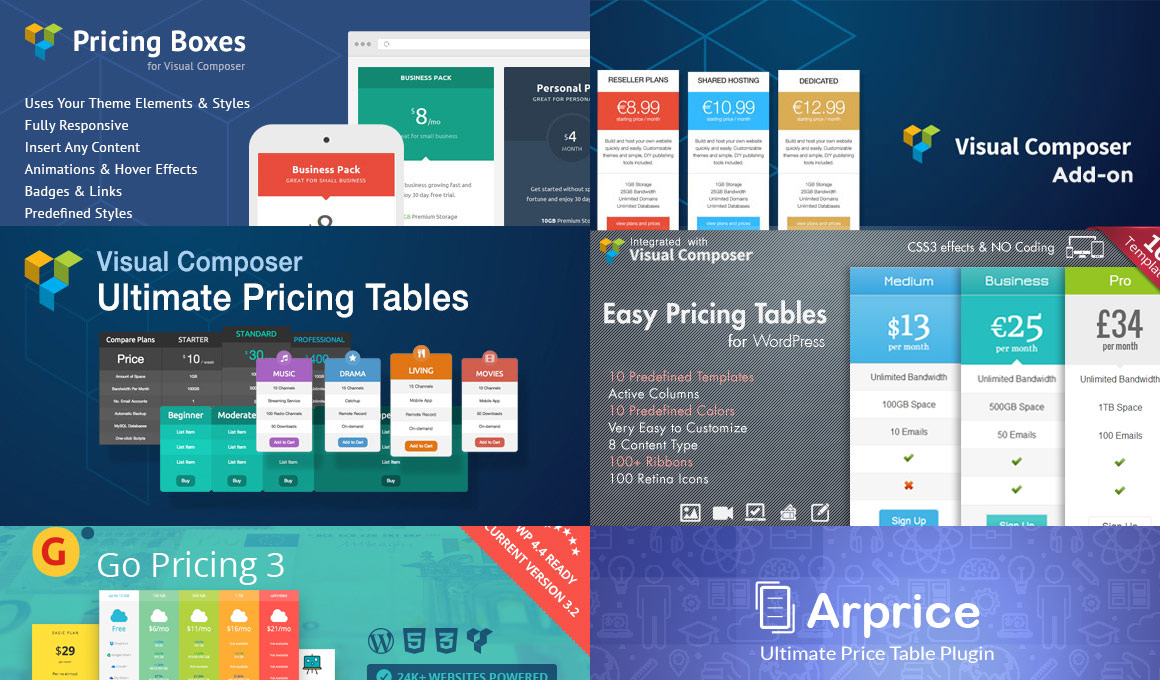 visual composer pricing tables addons